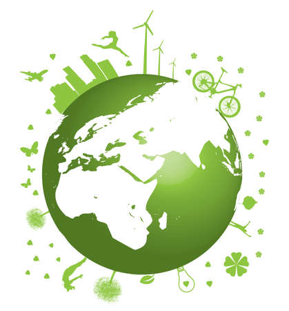 Green Earth concept vector illustration on white Stock Vector - 6356131