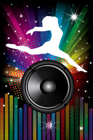 Background for Disco flyers with black Speakers and dancer Vector