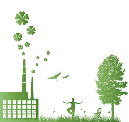 ecology illustration with green factory and people. harmony Stock Vector - 6409204
