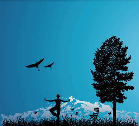woman outdoors with mountain, tree and birds Vector