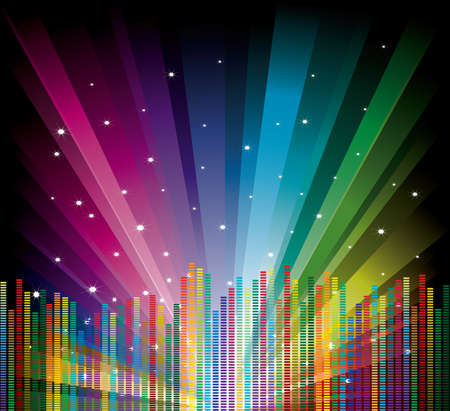 Cool vector illustration with equalizer on rainbow background Illustration