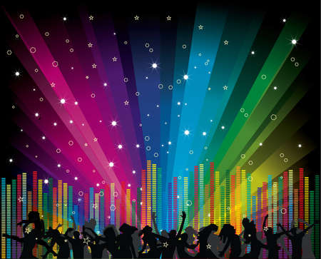 Cool vector illustration with dancers and equalizer on rainbow background Illustration