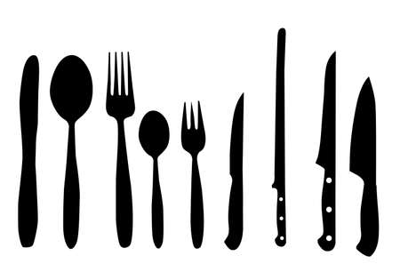 soup and salad: spoon, knife and fork vector illustration for design