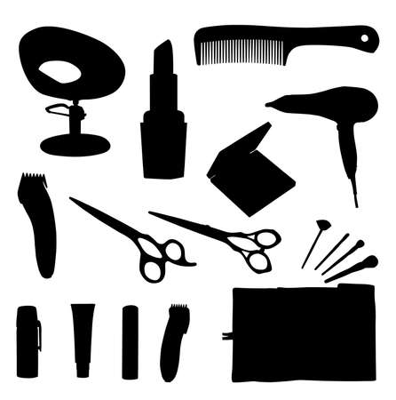 haircutting: hair equipment vector illustration on white background