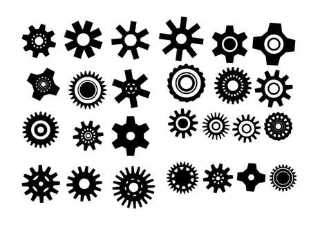 factory automation: poster with gearwheel. vector illustration in black and white color