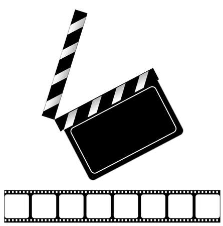 clap: Movie clapper board and filmstrip vector illustration