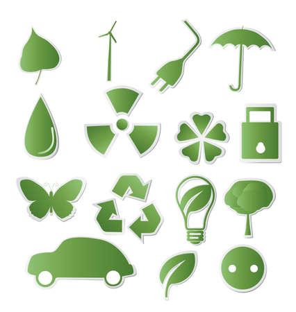 antipollution: Colecci�n de verdes ecol�gico-iconos para su dise�o Vectores