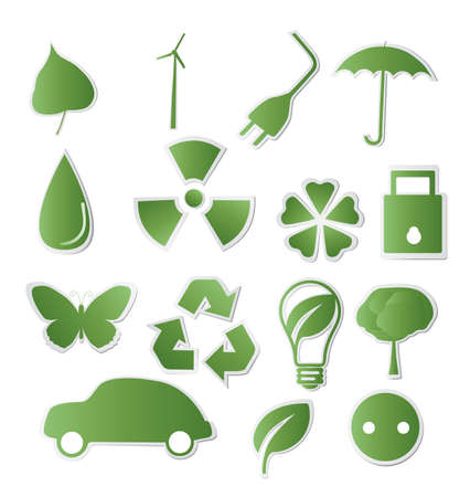 antipollution: Collection of green eco-icons for your design