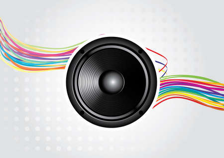 abstract rainbow wave line with speaker and place for your text  Vector