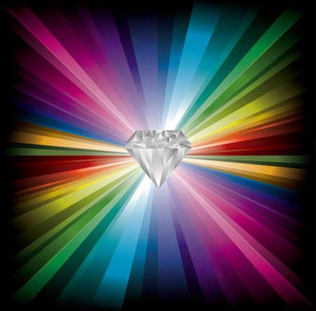 cool Diamond illustration on rainbow background Illustration