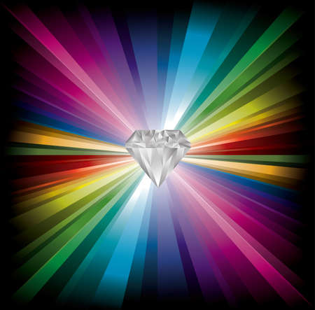 red diamond: cool Diamond illustration on rainbow background Illustration