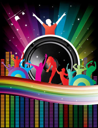 rainbow background with crazy dj and dancers equalizer for flyers