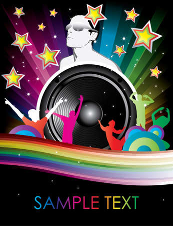 rainbow background with man in glasses speaker and dancers