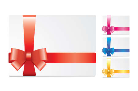 set of blank white cards with colored gift ribbon and bow Vector