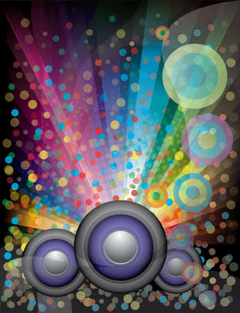 disco background with rainbow confetti and speaker Vector