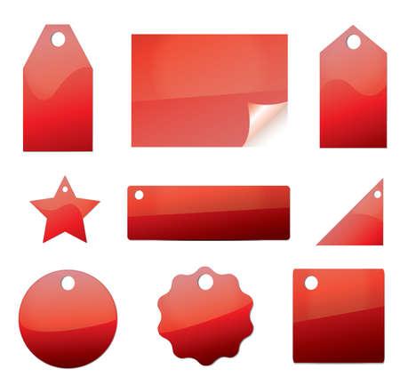 Leere Preisschildern Etiketten in der roten Farbe  Standard-Bild - 7166413