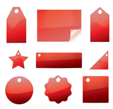 set of blank price tags labels in red color