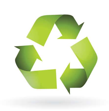 shinning: Reciclar icono en color verde aislado ilustraci�n
