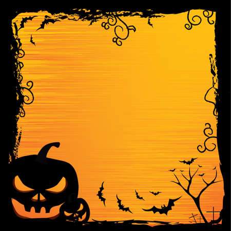 Halloween background with pumpkin, night bat and tree Vector