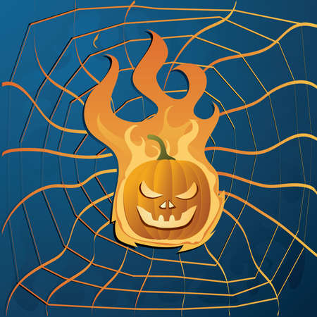 13th: Vector illustration with yellow halloween pumpkin on fire and web Illustration