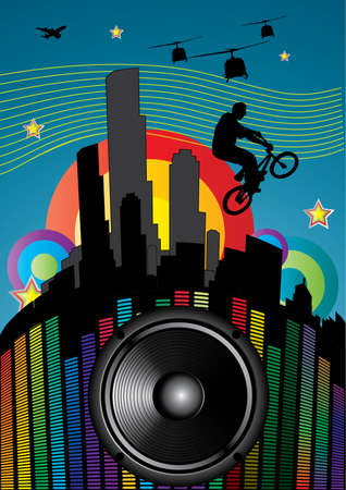 guy with bmx on city landscape with sound speaker Stock Vector - 8187938