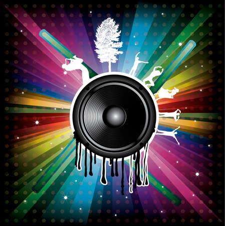 Magic Rainbow Party-Hintergrund mit Lautsprecher, Tänzerin und Punkte Standard-Bild - 8187940