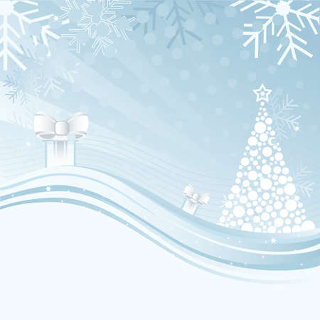 free space: An abstract Christmas background illustration with star, snowflakes, tree and gift box