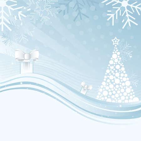 lizenzfrei: Eine abstrakte Christmas hintergrund Illustration mit Stern, Schneeflocken, Baum und Geschenk-box