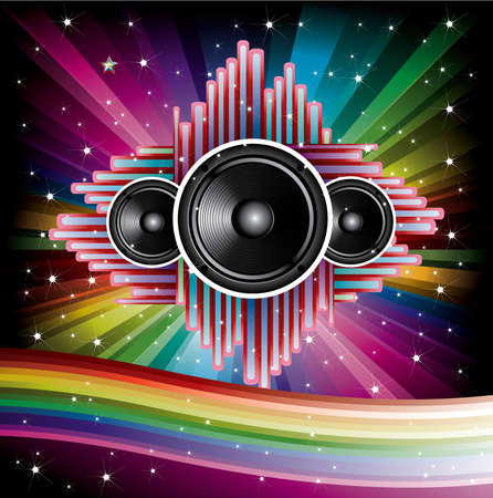 Rainbow Disco Background with speaker and stars illustration Vector