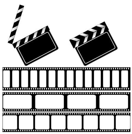 movie clapper: Filmato Batacchio board e filmstrip illustrazione per la progettazione. isolated on white