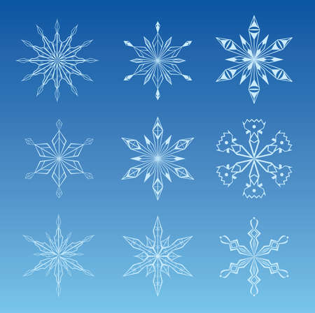 illustration of snowflake icon set on blue background for your design  Vector