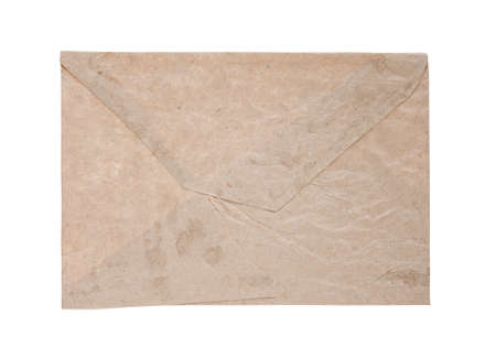paper envelope of brown color on white background, isolated photo