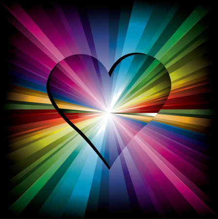 Magic Rainbow heart made from radial color rays Vector