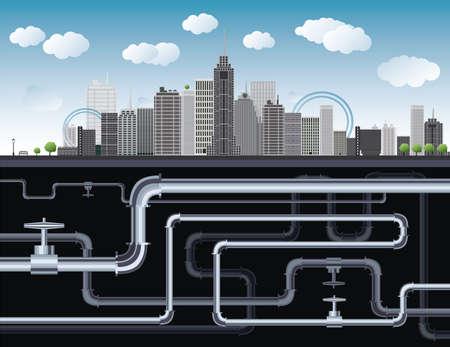 Een denkbeeldige grote stad met wolkenkrabbers, blauwe lucht, bomen en buizen Vector Illustratie