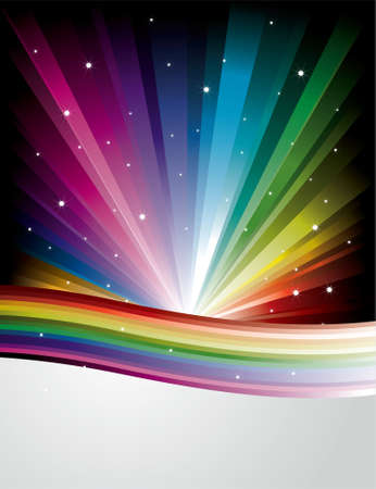 Abstract Rainbow Disco Background with stars and lines