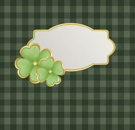 trefoil: Patricks theme with shamrock on green square background and swirls Illustration
