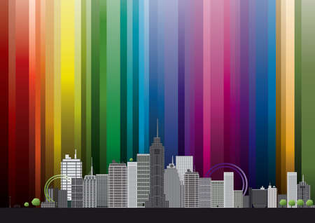 Retro city with rainbow. Vector illustration Vector