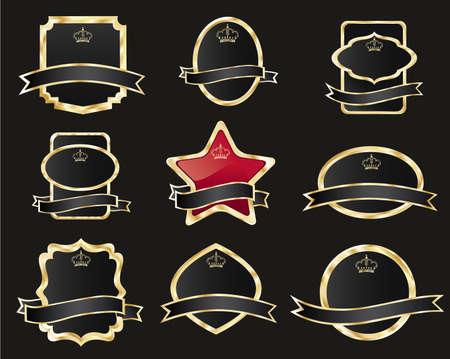 set of black gold-framed labels, vector illustration