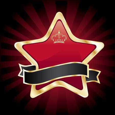 superstar: vector red star in golden frame on dark background Illustration