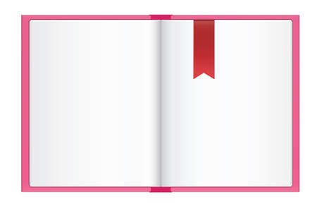 bookmark: empty open book with red bookmark on light background