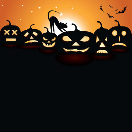 Pumpkins at night with moon and cat Vector