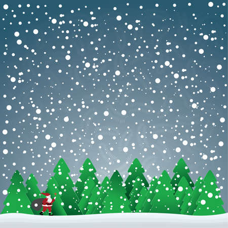 christmas card with Santa Claus in forest and snowflakes in the blue sky, vector illustration Vector