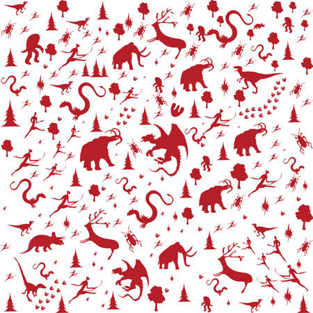 archeology: seamless background with Prehistoric Era, animals in red color Illustration