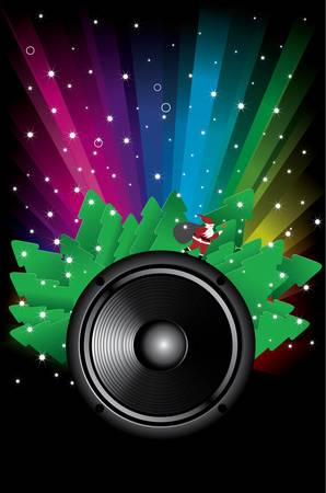 Rainbow Disco Background with speaker stars and santa claus Stock Vector - 11139738