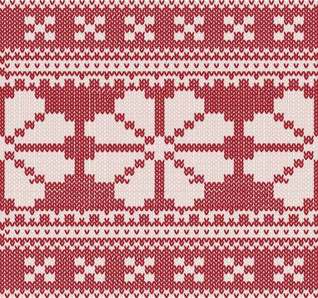 christmas Knitted background with flower and ornament Vector
