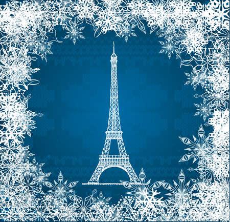 knitted background: Vector de la Torre Eiffel con copos de nieve sobre fondo azul de punto Vectores