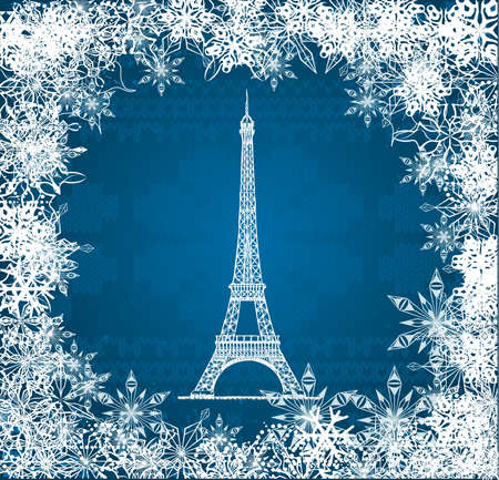 Vector Eiffel Tower with snowflakes on blue knitted background Vector