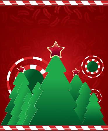 merrily: Albero di Natale su sfondo rosso con foglie Vettoriali