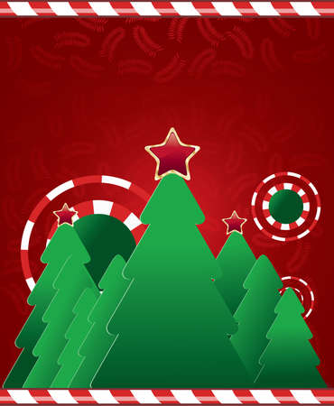 merrily: Christmas tree on red background with leaves