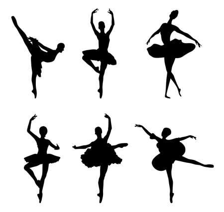 ballet dancing: Set di sagome balletto ballerini. Vector illustration